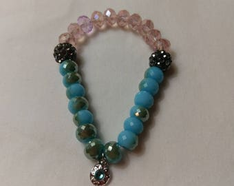 Kids Blue Ombre and Pink Glass bead Stretch Bracelet with Charm