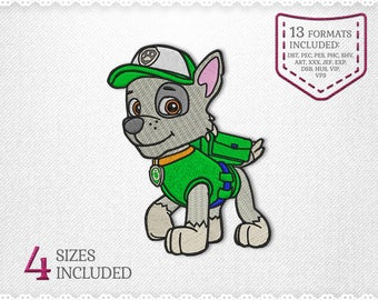 Paw Patrol Rocky Embroidery Machine Design - 4 Sizes - INSTANT DOWNLOAD - Applique, Embroidery, Designs