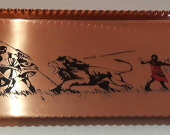 Copper Drinks Tray Featuring Lion Hunt