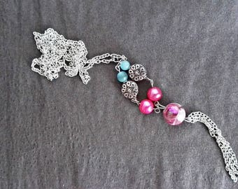 Wonderful fancy pink and silver necklace