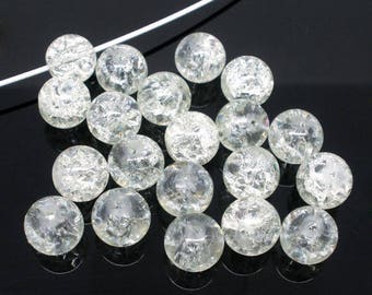 set of 10 white Crackle 10 mm glass beads