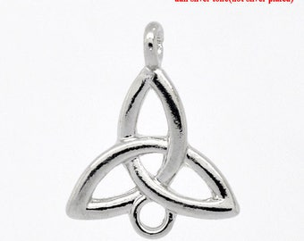set of 2 charms/pendant/connector zinc shaped Celtic knot 26X21mm