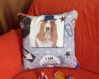 "Cushion square ""I my bad dog a"" 40 x 40 cm"