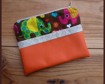 """Multi function """"My elephants"""" clutch in faux leather orange and cotton fabric"""
