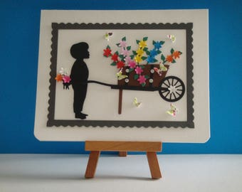 "Kit card floral wheelbarrow ""Happy mother's day"" to make you even"