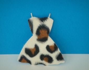 Cutout dress spotted fur pad black white Brown