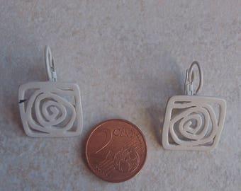 White geometric earring