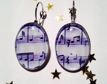 "Earring Cabochon sleeper ""music"""