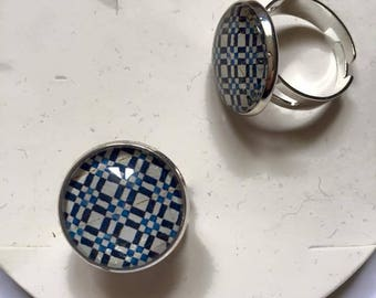 "Beautiful ring adjustable silver Metal Vintage ""Azulejos"""