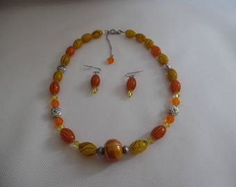 Yellow and orange set, necklace + earrings, Swarovski and glass.