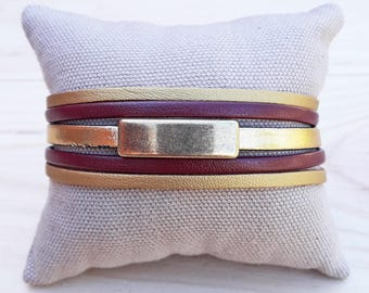 Burgundy and gold Cuff Bracelet