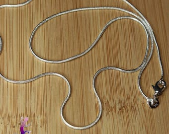 5 silver plated 51cm snake chain necklaces