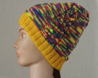 Hat in wool fancy patterns cable hand knitted men or women