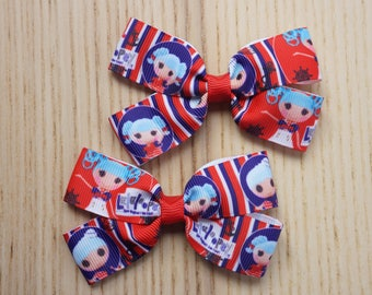 Lalaloopsy Hair bow Clips 8.5cm (3 1/4 inches),Handmade Hair Bow Clip, Lalaloopsy, Lala Doll, Lalaloopsy Doll-JuliaCraft Australia