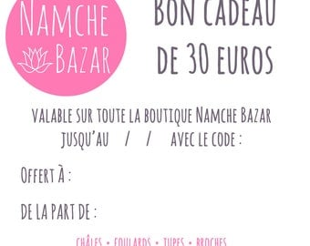Gift card / voucher value of 30 euros