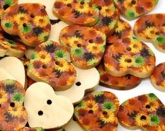 SET of 6 wood buttons: heart 17mm flower pattern (No. 1)