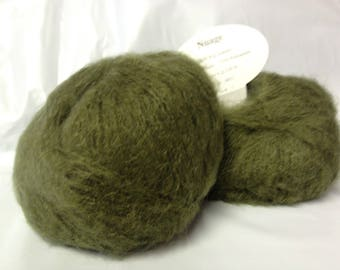 wool - knit / 10 balls of yarn kid mohair / khaki / made in France