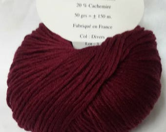 5 balls cashmere and wool /couleur raspberry / made in FRANCE