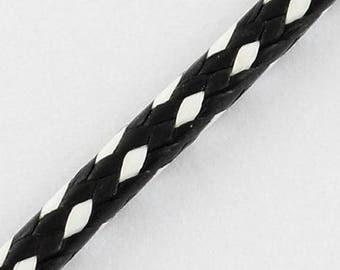 5 METTERS NECKLACE BRACELET WAXED COTTON CORD Ø 1 MM BLACK AND WHITE