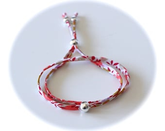LIPIKI DIY KIT: Double Bracelet Liberty Wiltshire squash adjustable white cord and beads silver plated smooth no tools required