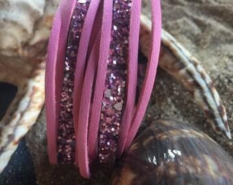 large pink glitter and pink Cuff Bracelet matte