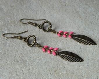 Earrings chains enamel ears fuchsia *.