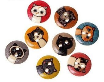 12 buttons 15 mm wooden cats