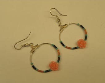 Creole earrings resin flower