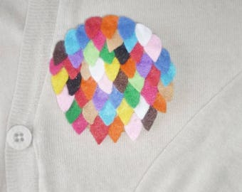 brooch with multicolored felt FUNNY applications