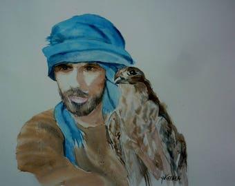watercolor the Falconer and his Hawk