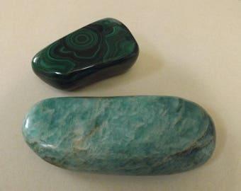 Malachite et Amazonite - Pierres Naturelles  - Lot de 2 très grosses pierres minérales pour collectionneur