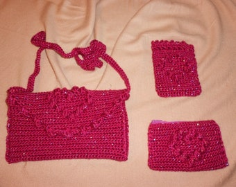 Lot evening bag + purse + cell phone cover