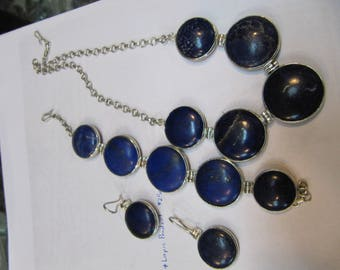 Large lapis lazuli stones set in silver for necklace, bracelet and earrings from Afghanistan