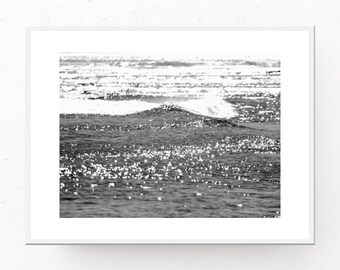 Ocean Download, Black And White Ocean Photography, Digital Download Print, Printable Art, Modern Boho, Scandinavian Decor, Minimalist Decor