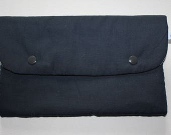 Flat clutch fully lined Navy snap