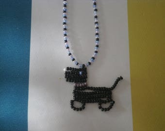 """Necklace """"Dog"""" black seed beads."""