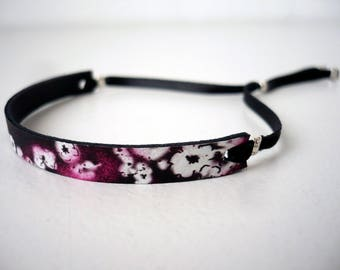 Wand graphic Japanese flowers leather bracelet