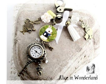 Alice in Wonderland jewelry - Alice watch necklace- White brabbit pocket watch- Alice in Wonderland adventures - The White Rabbit