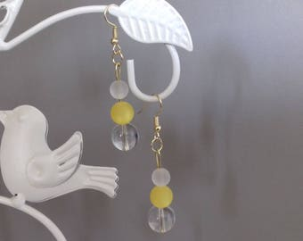 yellow and translucent beaded dangle earrings
