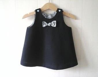 Midnight Blue linen sleeveless/pinafore baby dress