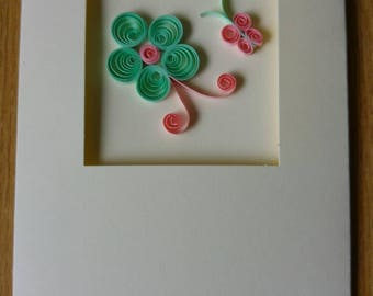 Quilling Flower and butterfly handmade  greetings card