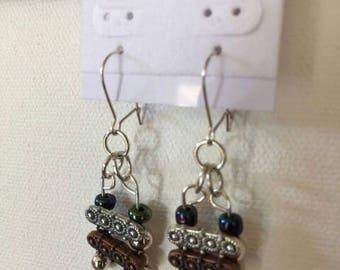 Drop Bar earrings,copper/silver drop earrings,earrings for her