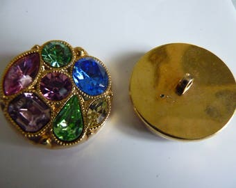 Gold round buttons and rhinestones