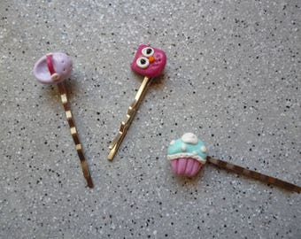 Kids hair clips made of polymer clay, handmade