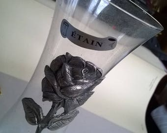 (33) glass vase, decorated with Tin