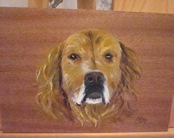 Dog - portrait acrylic painting on wood