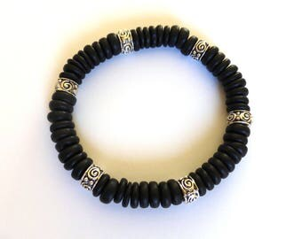 men's bracelet made of coconut and metal beads