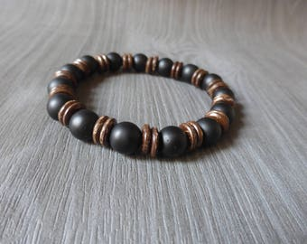Mens bracelet onyx bead and coconut wood - fathers day gift