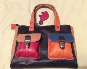 Multicolored leather bag