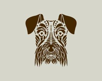 Dog stencil. Schnauser dog's head. Adhesive vinyl stencil. (ref 597)